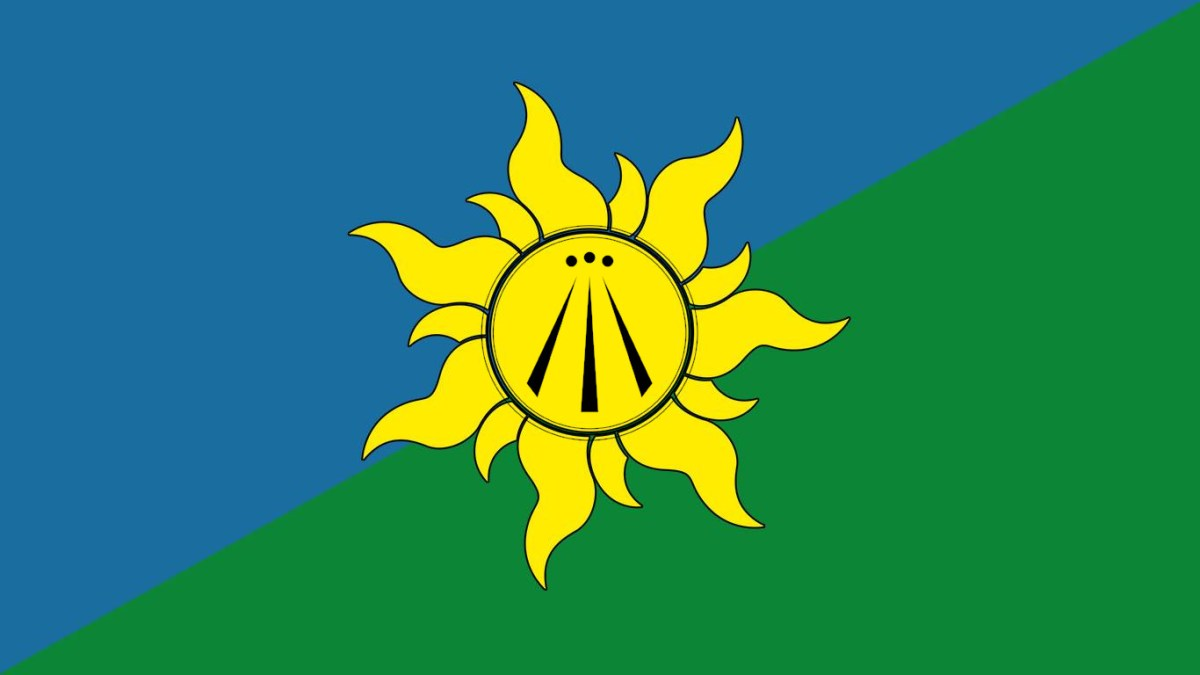 a solarpunk flag with the three rays of the arwen in the center