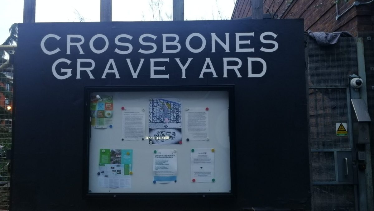 The public information board outside the Crossbones Graveyard