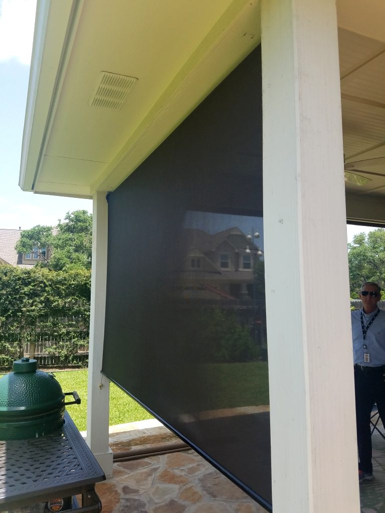 patio roll shade and solar screens
