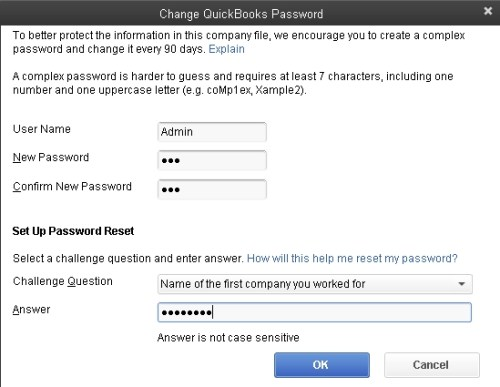 QuickBooks - changing the admin password