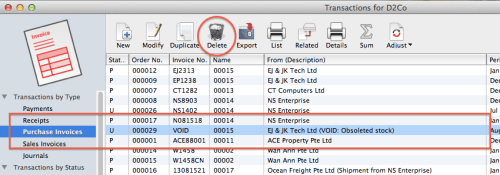 MoneyWorks - delete transactions