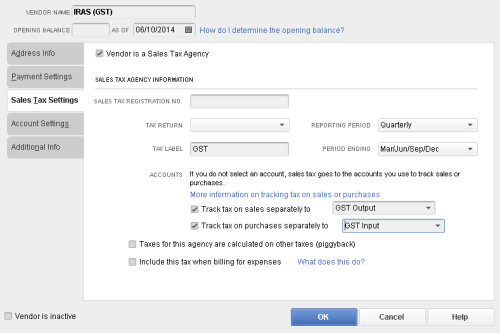 QuickBooks - Tax Agency
