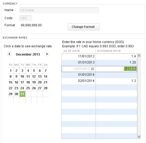QuickBooks USD exchange rate