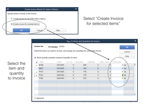 Create invoice with multiple item from Sales Order