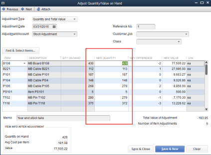QuickBooks Adjust Quantity and Value on Hand