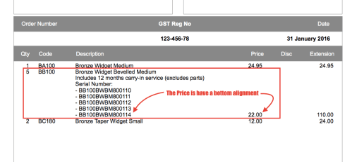 Invoice form align bottom
