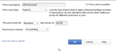 QuickBooks Fixed Percentage Price Level