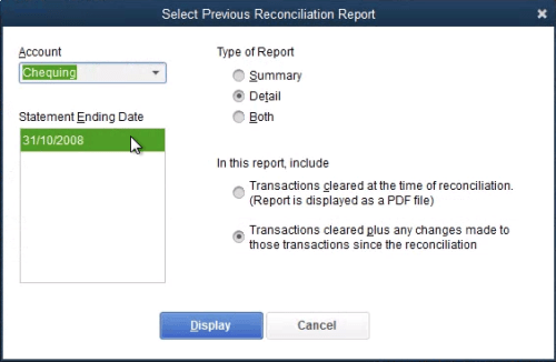 QuickBooks Previous Reconciliation