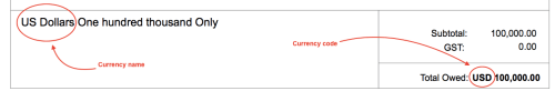 Currency name and code
