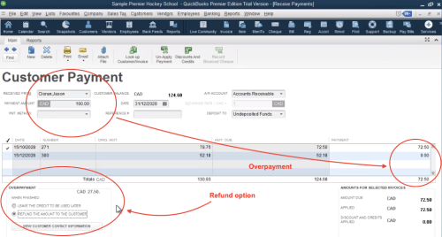 Refund from customer payment in QuickBooks
