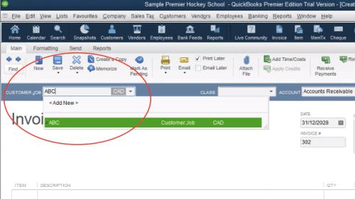 QuickBooks Sales Invoice