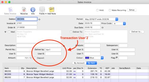 MoneyWorks Sales Invoice transaction