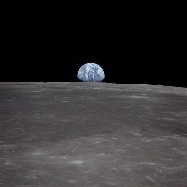 Apollo 11 View of Moon Limb With Earth on the Horizon ...