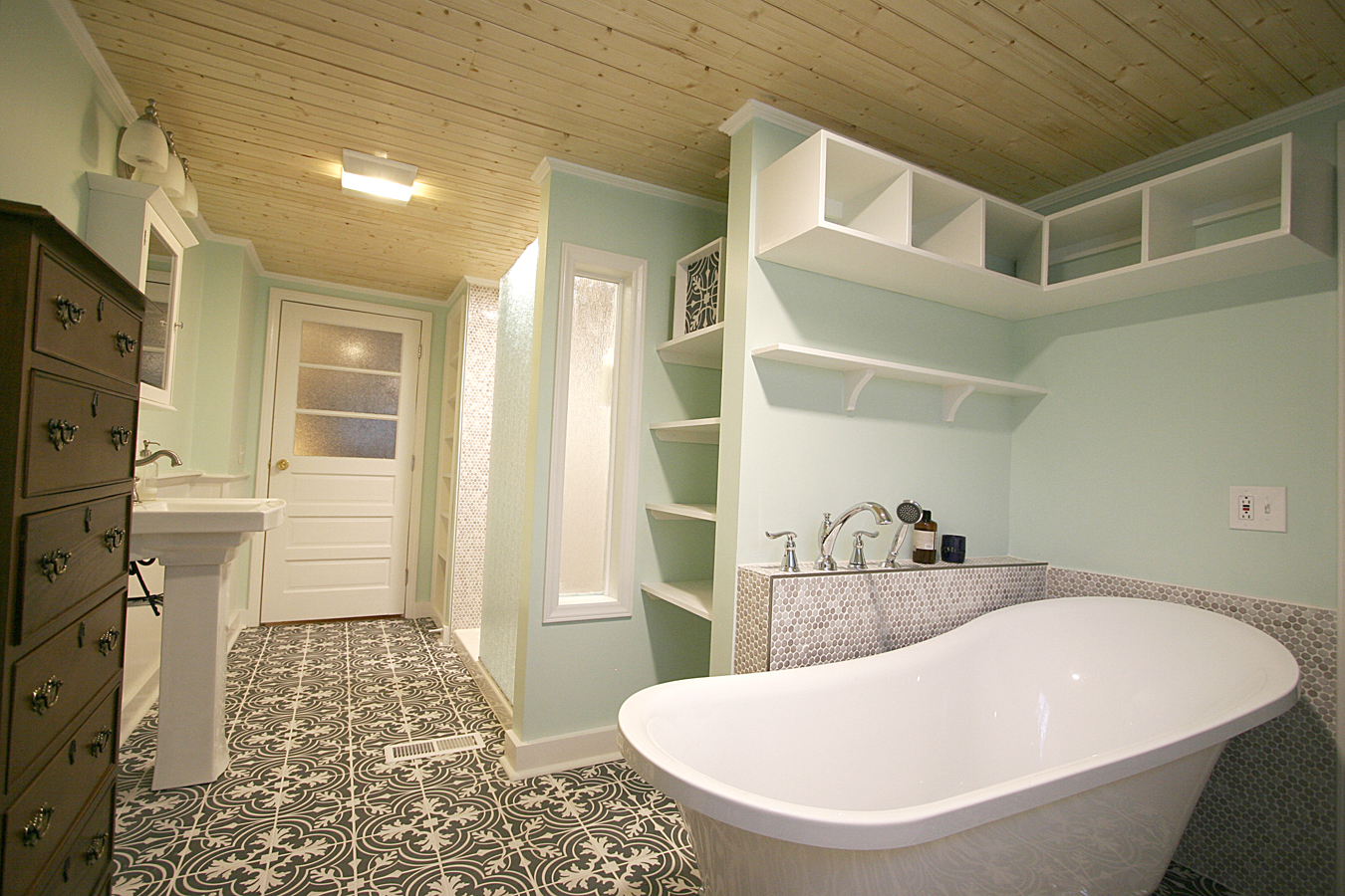 Era-Sensitive 20th Century Farmhouse Bathroom Remodel & Addition