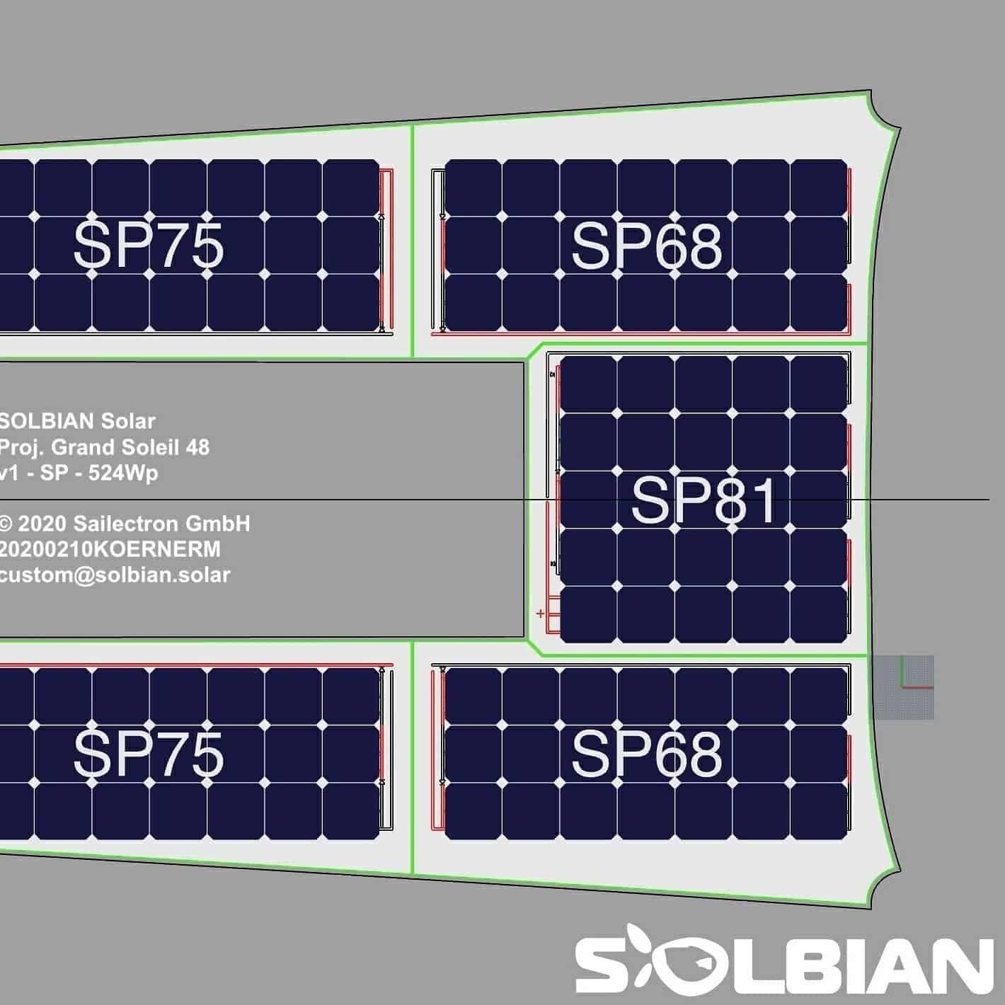 Grand Soleil 48 solar panel deck walkable Solbian