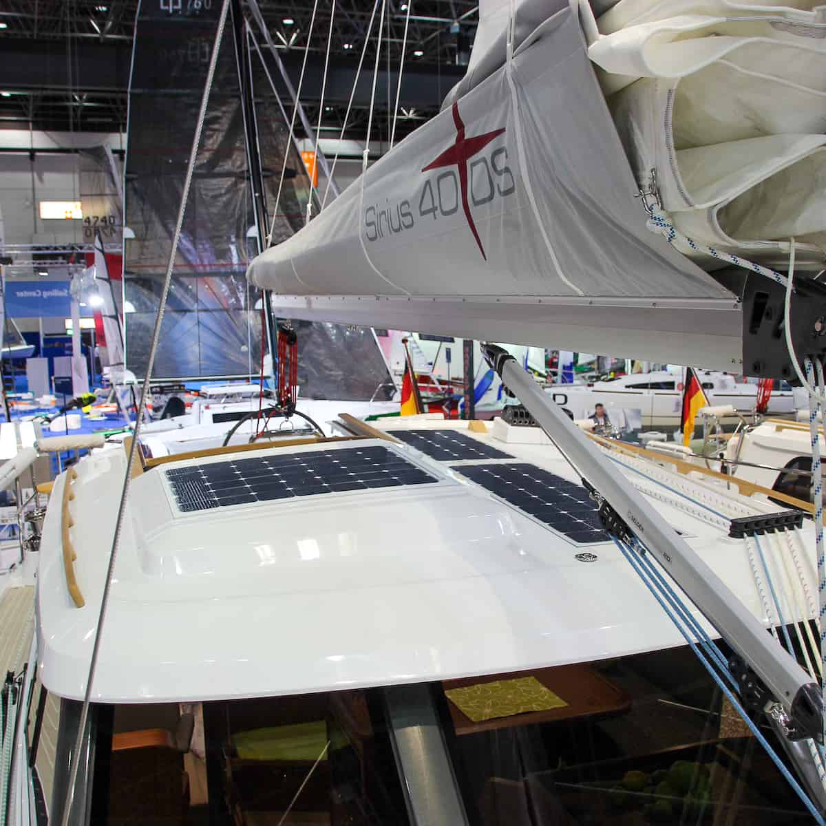 Sirius 40 DS photovoltaic solar panels sailing yacht Solbian