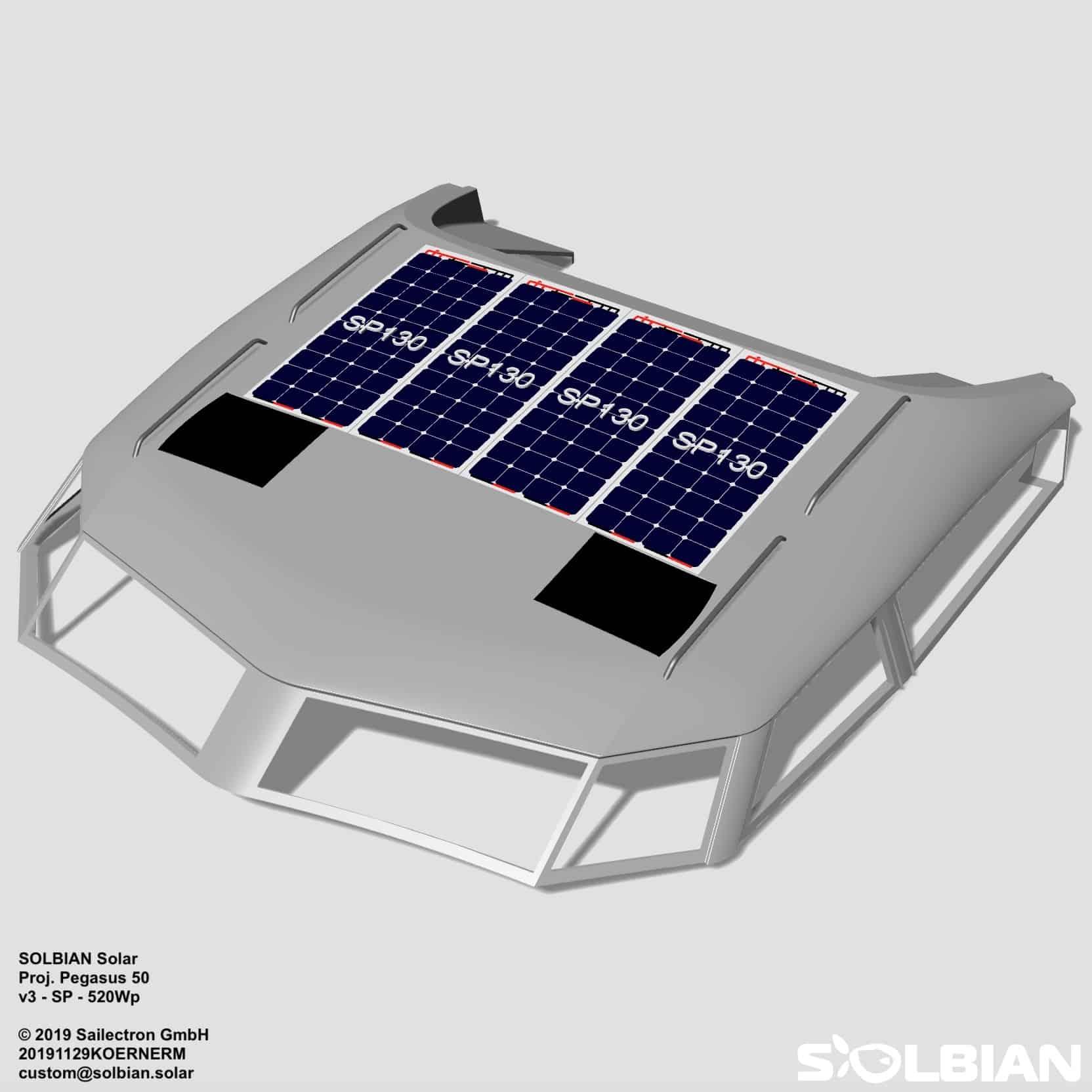 Pegasus 50 Segelyacht Solbian Solar begehbar Solarmodule