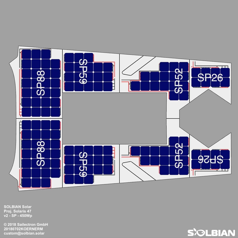 Solbian Solar Solaris 47 Segelyacht Solaranlage Deck Esthec Zeichnung