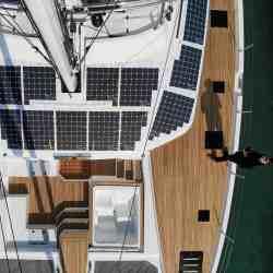 Solbian Solar Fountaine Pajot 67 sailing luxury catamaran yacht boat photovoltaic walkable custom-made bespoke bimini deck KIMATA