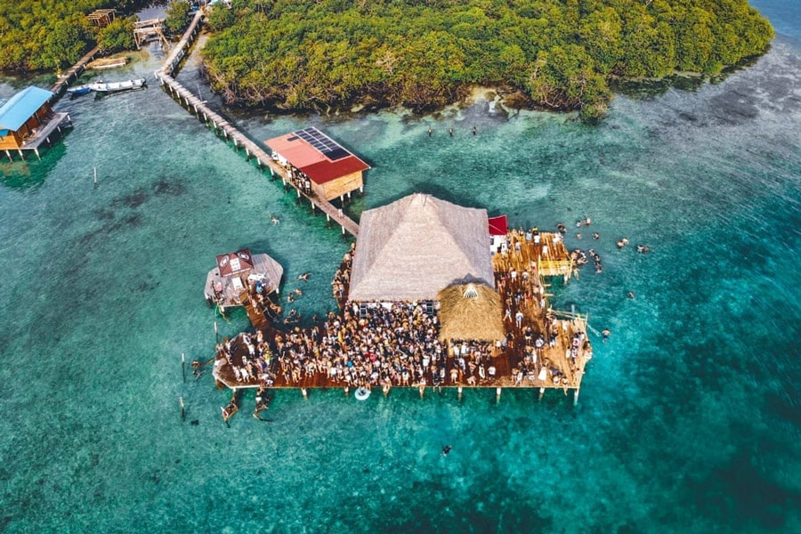 Drone photo of Filthy Friday Party at the Blue Coconut on Isla Solarte in Bocas del Toro
