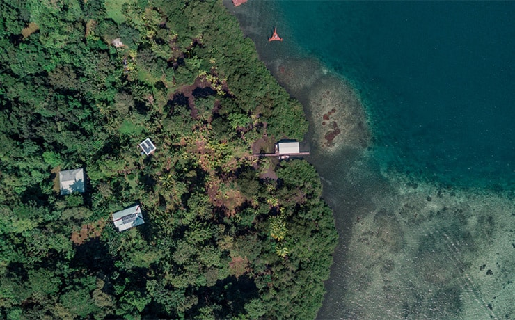 Drone view of Roam Yoga & Wellness retreat on Isla Solarte in Bocas del Toro with blue water and green jungle.