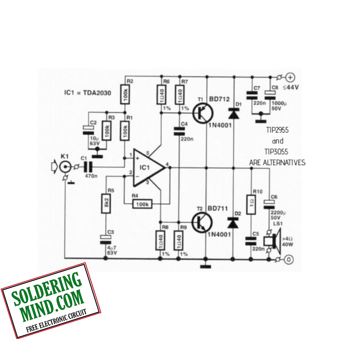 Tda With Transistor Amplifier Circuit