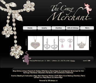 Jewelry Website Design, The Crazy Merchant, First Redesign of Website