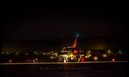 F-16 with lights at night