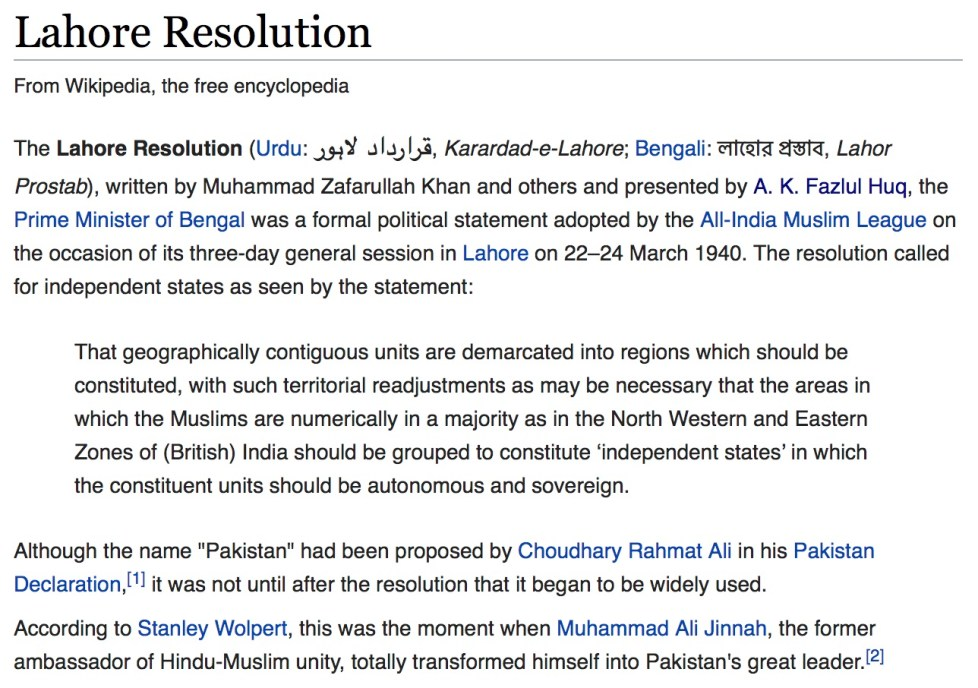 lahore resolution