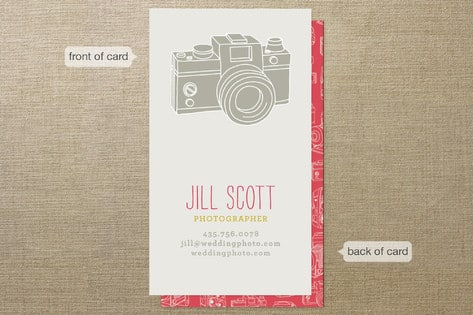 business cards for a photographer