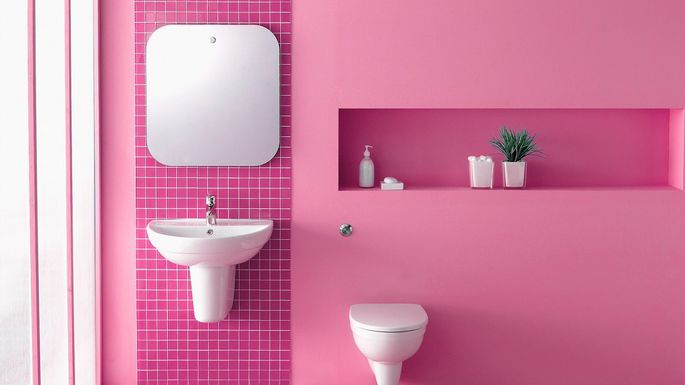 pretty in pink bathroom