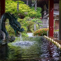 Fujiyoshida, la fontaine du sanctuaire Fuji-Sengen-jinja.