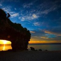Okinawa: coucher de soleil sur la plage de Sunamaya.