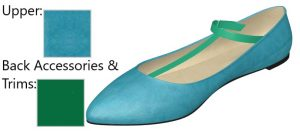 Blue Suede Shoe with Green Strap