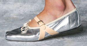 Giambattista Valli Shiny Silver Mary Jane Flat
