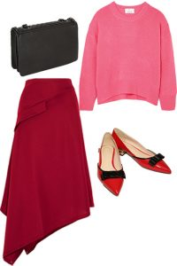 How to style pink and red with an asymmetric skirt