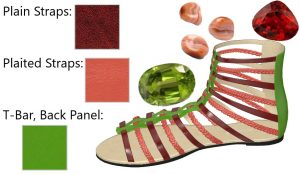 Green, Orange, and Metallic Red Gladiator Sandal