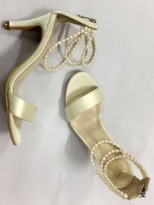 Beige Silk Heel Sandal with Bead Ankle Straps