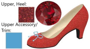 Low Heel Glittery Red Pump with Blue Bow