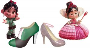 Green, Brown, and White High Heel Oxford and Shiny Pink Pump