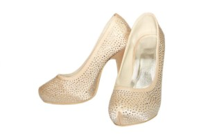 Lily Nude Silk Platform Heels, almond toe shape