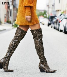 Patterns help you to style over-the-knee boots for the Winter.