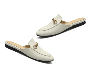 white backless mules, backless loafers, house shoes