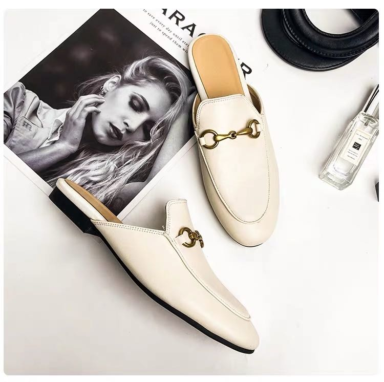 White backless loafers