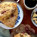 strawberry scones with coffee and jam