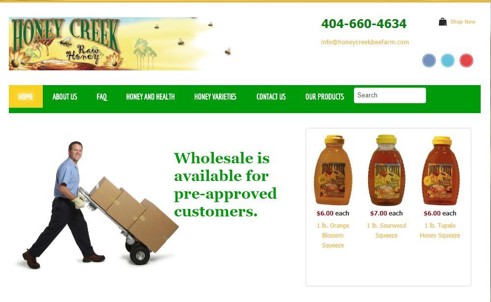 Solia Media Website for Honey Creek Bee Farm - Conyers, Georgia