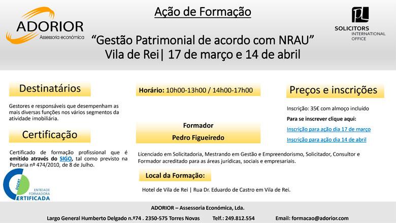 """Ação de Formação """"Gestão Patrimonial de acordo com NRAU"""""""