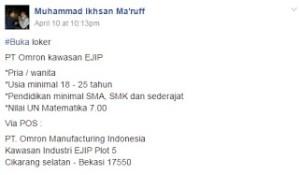 [Bekasi] Lowongan Kerja Operator Produksi di PT Omron Manufacturing Indonesia
