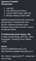 [Bekasi] Lowongan Kerja Operator Produksi di PT Multistrada Arah Sarana Tbk