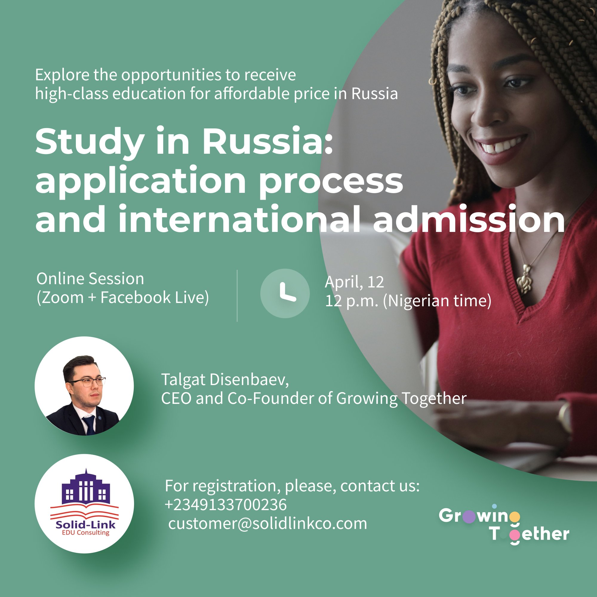 Poster for study abroad in Russia webinar